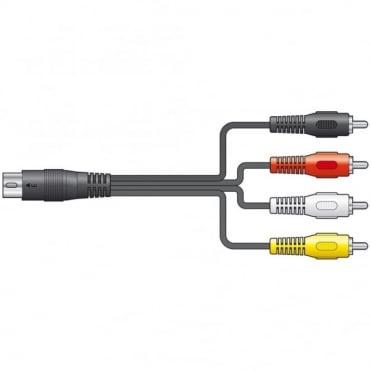 5-Pin Din PLug to 4 x RCA Phono Plugs