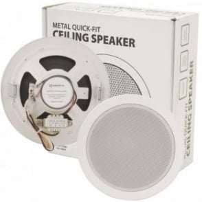 "100v Line Metal Easy Quick-Fit Ceiling Speaker 6W 5.25"" 135mm"