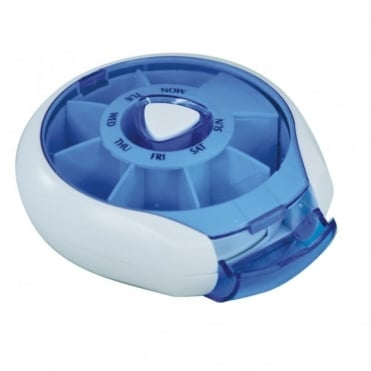 Blue Compact Weekday Pill Dispenser Compact Per Day Tablet Box