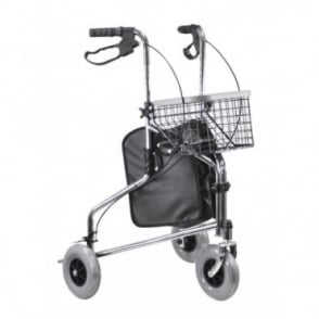Chrome Tri-Walker with Positive Folding Lock with Bag and Basket