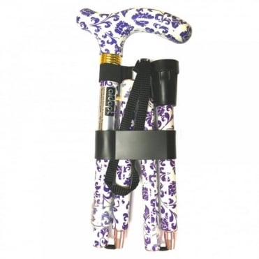 High Quality Folding & Extendable Patterned Walking Stick - Blue White Floral