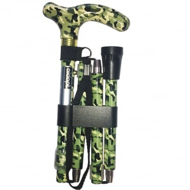 High Quality Folding & Extendable Patterned Walking Stick - Camoflauge