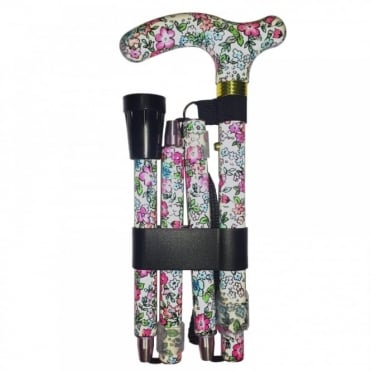 High Quality Folding & Extendable Patterned Walking Stick - Classic Floral