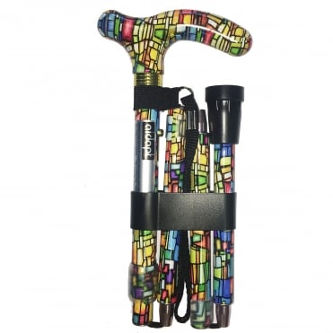 High Quality Folding & Extendable Patterned Walking Stick - Colour Mosaic