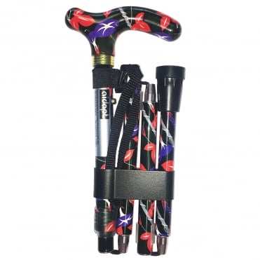 High Quality Folding & Extendable Patterned Walking Stick - Colour Oriental Lilies