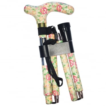 High Quality Folding & Extendable Patterned Walking Stick - Floral Blossom