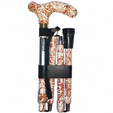 High Quality Folding & Extendable Patterned Walking Stick - Oriental Terracotta