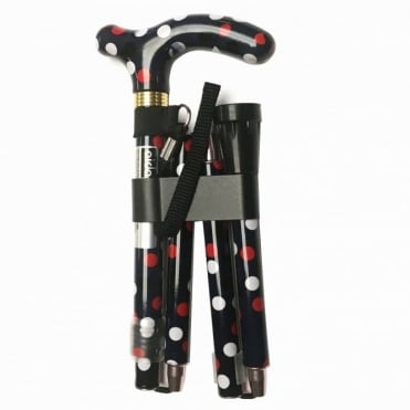 High Quality Folding & Extendable Patterned Walking Stick - Polka Dot