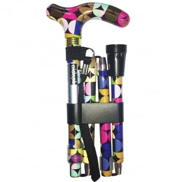 High Quality Folding & Extendable Patterned Walking Stick - Retro Sixities
