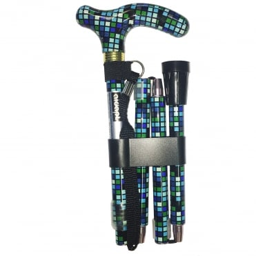 High Quality Folding & Extendable Patterned Walking Stick - Sea Colour Tile