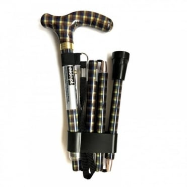 High Quality Folding & Extendable Patterned Walking Stick - Tarten Homme