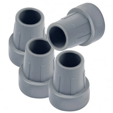 Set Of 4 Replacement Grey Rubber Ferrule for walking frames, toilet / shower seats etc 25mm