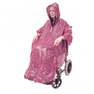 Wheelchair Rain Cover Warm Dry Poncho Waterproof Cape Hood Universal Pink