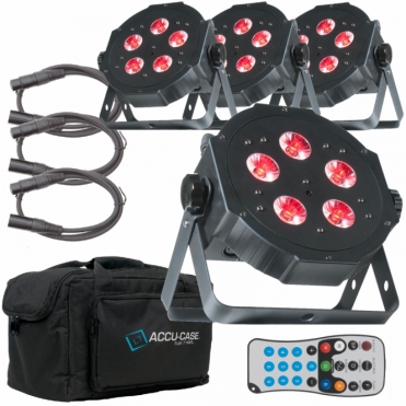 4 x ADJ Mega TriPar Profile Plus 5 x 4w 4-in-1 RGB UV Colour LED Par Can Pack