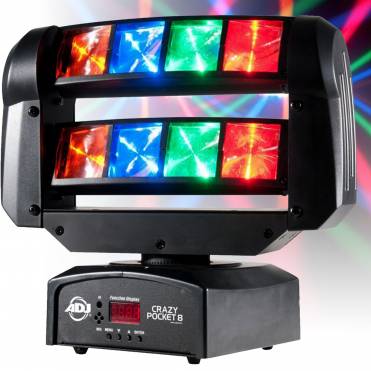 Crazy Pocket 8 Moving Head with Independent Moving Lens RGBA LED