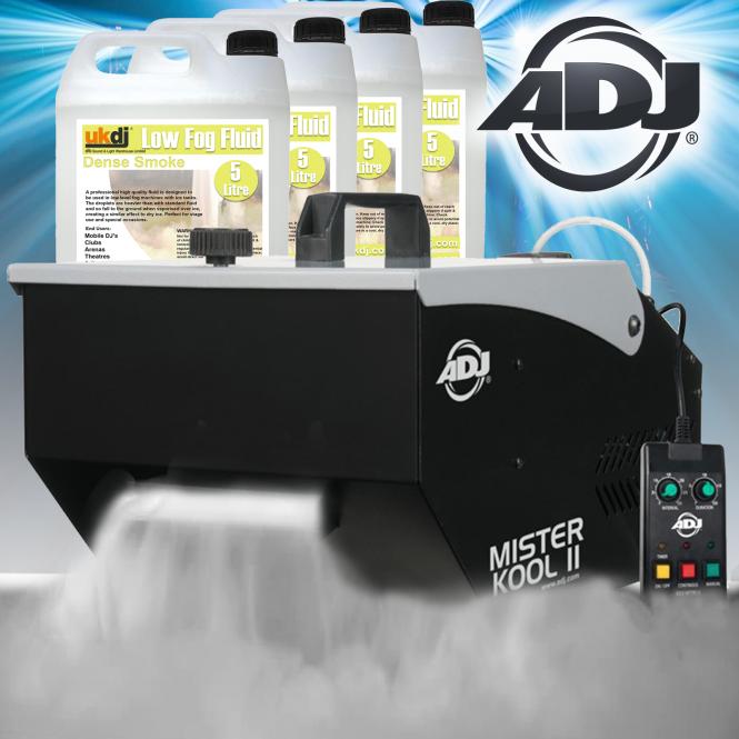 American DJ Dry Ice Effect Smoke Fogger Ground Fog Machine Inc 20L Smoke Fluid