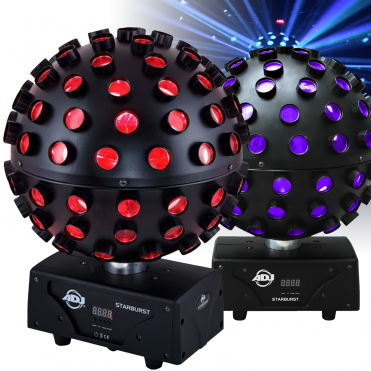 Pair of Starburst 75W RGBWA UV Rotating 360 Mirror Ball Hex Party Effect Light