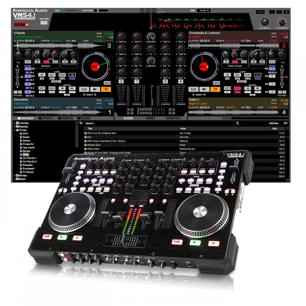 vms4 1 4 channel midi controller with virtual dj le software. Black Bedroom Furniture Sets. Home Design Ideas