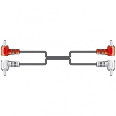Audio Lead 2 x RCA Plug - 2 x RCA Plug Right Angled Phono Connectors