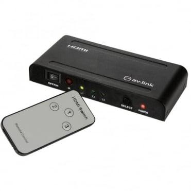 1080P 3 Way HDMI Splitter Switcher Hub Inc Remote - HDTV SKY Box PS3 Xbox