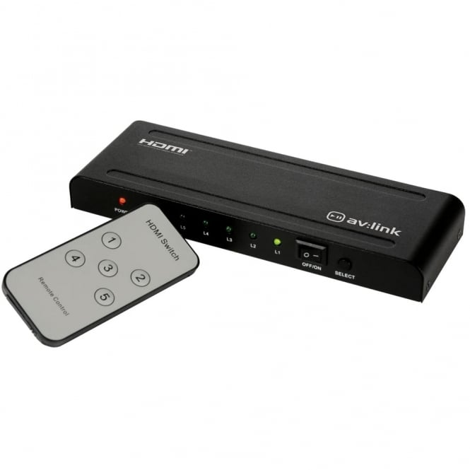 AV:link 1080P 5 Way HDMI Splitter Switcher Hub Inc Remote - HDTV SKY Box PS3 Xbox