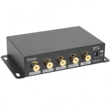 AD-COM14 4 Way Composite TV Video Distribution Amplifier RCA Phono Splitter
