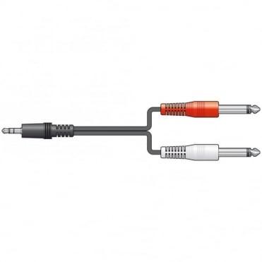 Audio Lead 3.5mm Stereo Plug - 2 x 6.3mm Mono Plugs 1.2M