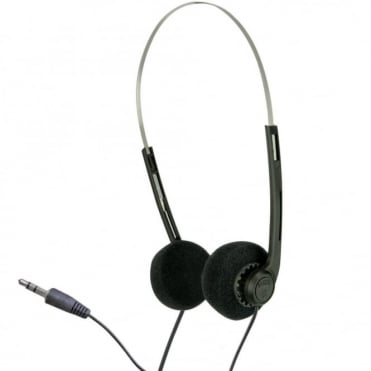 Lightweight Stereo Black Pad Headphones for Schools Tour Companies