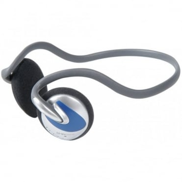 SH30N Curved Neckband Stereo Headphones Lightweight Blue Silver Design