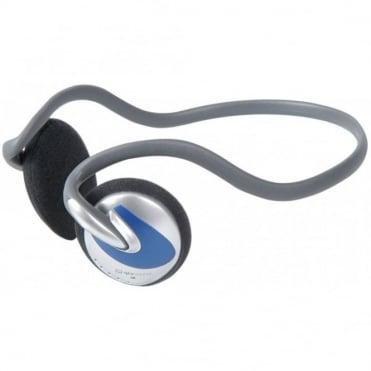 SH30N Curved Neckband Stereo Headphones Lightweight Blue Silver Design