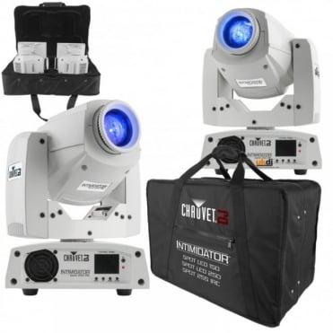 2 x Chauvet Lighting Intim Spot 255 Moving Heads White DJ Set Up & CHS-X5X Case