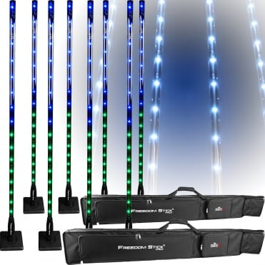 2 x Freedom Stick Pack Free-standing LED Light Fixture inc Remote & Bag