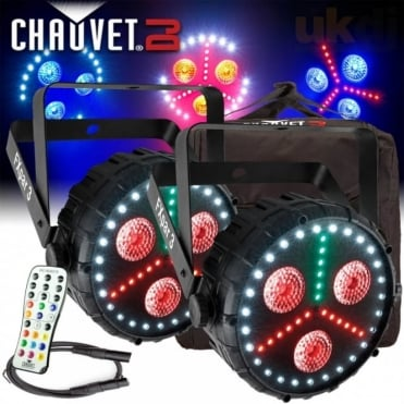 2pc FXPar 3 Quad Colour RGB UV SMD LED Par Can Wash / Strobe DMX Light Effect Package