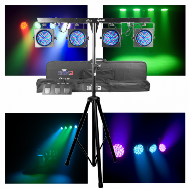 4Bar Portable Stage Wash Led Par Can System inc Stand & Case