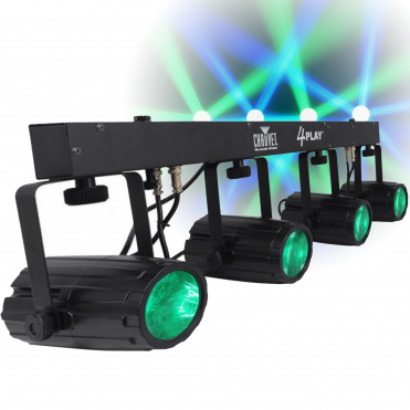 4Play LED Lighting Effects Package Inc Case DJ 4 Pod Disco FX
