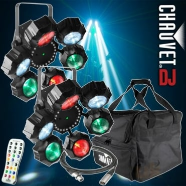 DJ Beamer 6 FX IRC RGB 3-in-1 LED RGB+W Beam Laser Cluster & Strobe FX Package
