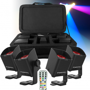 DJ Freedom H1 System 4 Wireless Spot / Wash Lights Hex Colour LED Inc IRC & Case