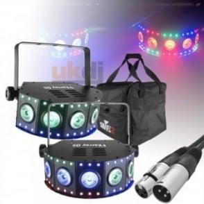 DJ FXarray Q5 Quad-Colour LED Wash Lights with DMX Lead, Remote & Case Package