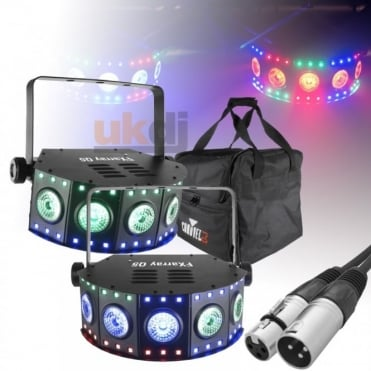 DJ FXarray Q5 Quad-Colour LED Wash Lights with DMX Lead, Remote & Case Package