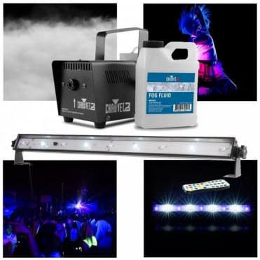 DJ JAM Pack Emerald Hurricane 700 Fog Machine & UV Strobe Wash Light