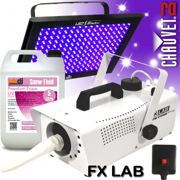 DJ LED UV Ultraviolet Glow Blacklight + Snow Machine with Fluid Package