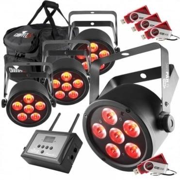 DJ SlimPAR T6 USB RGB LED Wash Light Pack Inc D-fi FlareCon & Bag
