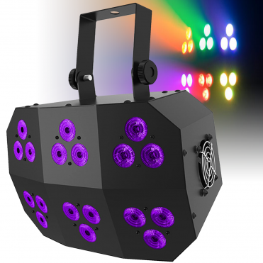 DJ Stage Wash FX MK 2 RGB+UV LED Light DMX Colour Flood Lighting Effect