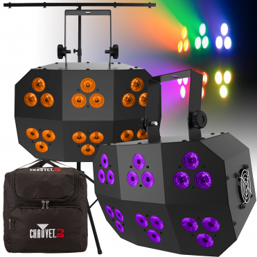 DJ Stage Wash FX MK 2 RGB+UV LED Light DMX Colour Flood Lighting Effect (Pair)