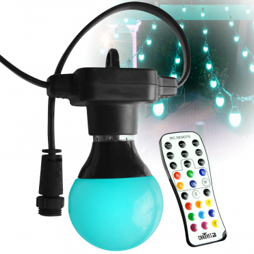 Festoon Outdoor Rated Bulb RGB LED Décor Lighting Fixture inc Remote