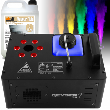 Geyser T6 Pyrotechnic FX RGB LED Vertical Smoke Machine inc Fluid