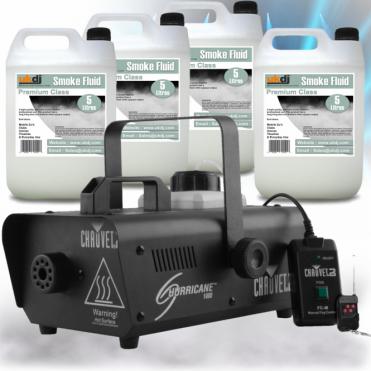 H1000 Hurricane 1000 Smoke Fog Machine inc Wireless Remote & 20L Fogger Fluid