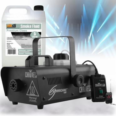 H1000 Hurricane 1000 Smoke Fog Machine inc Wireless Remote & 5L Fogger Fluid