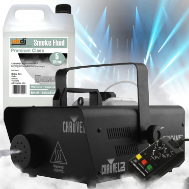 H1600 Hurricane 1600 Smoke Fog Machine inc Timer Remote & 5L Fogger Fluid