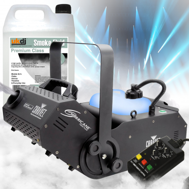 H1800 Hurricane 1800 FLEX Smoke Fog Machine inc Timer Remote & 5L Fogger Fluid